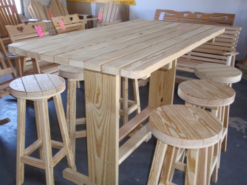 Wood Pub Table 5  x 33  W 6 Stools  357 00. Wooden Outdoor Tables From Amish Swings   Things