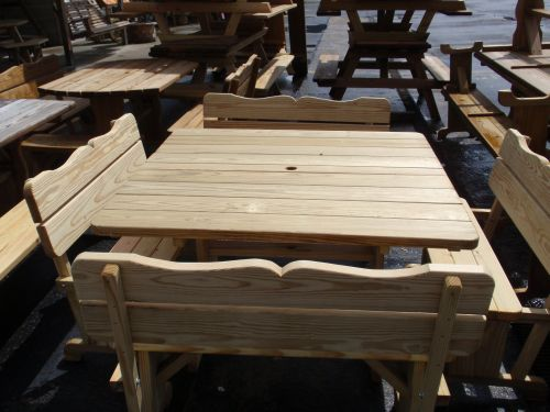 Wooden Outdoor Tables From Amish Swings Things - Square picnic table with benches